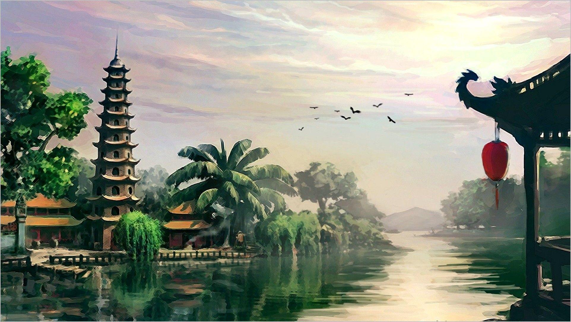 4k Wallpaper Vietnam Oil Panit In 2020 Painting Wallpaper Landscape Paintings Nature Wallpaper