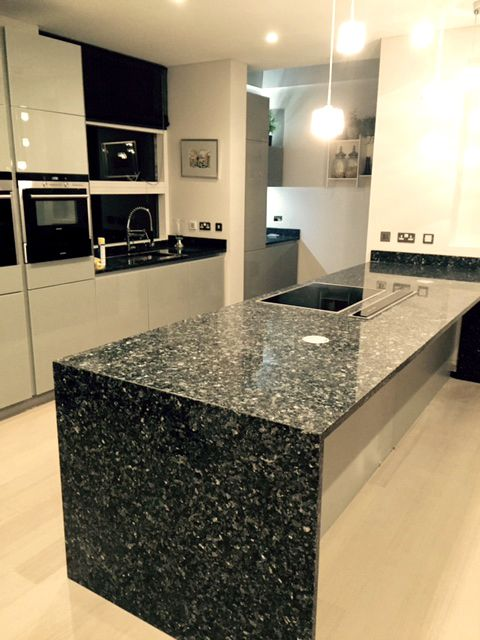 Black Granite Kitchen Worktop Waterfall Side