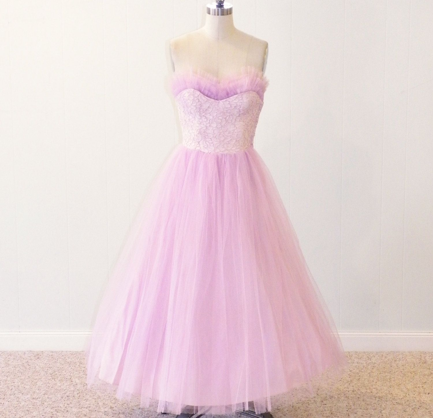Vintage 50s prom dress 1950s lilac tulle lace strapless party vintage 50s prom dress 1950s lilac tulle lace strapless party dress wedding bridesmaid dress xs s ombrellifo Choice Image