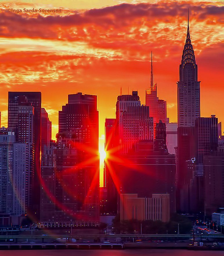 Good Morning America ‏@GMA now28 seconds ago Gorgeous fiery sunset pokes through and shines between NYC buildings. : @isardasorensen
