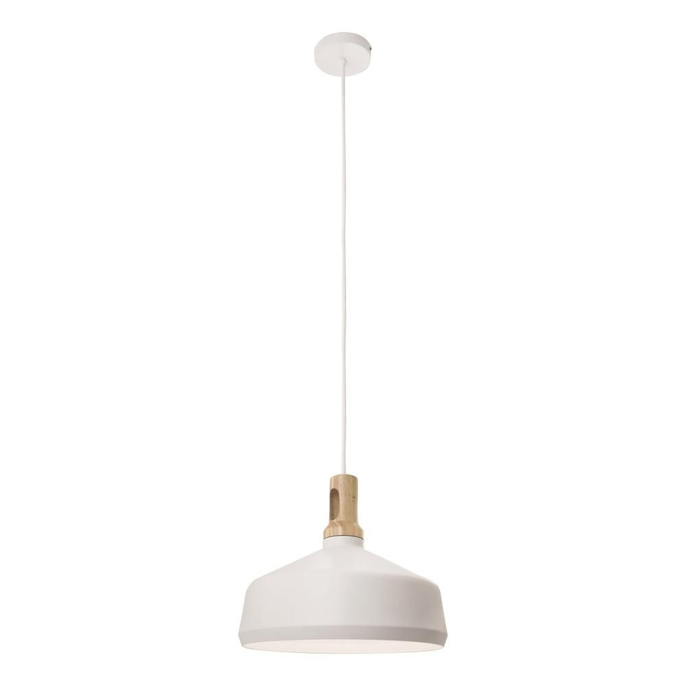 BAZZ Loft 1-Light White Finish with a White Shade Pendant Fixture ...