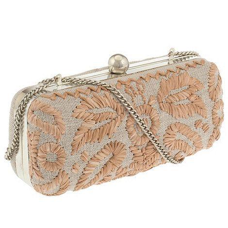Parfois Light cream Embroidery clutch at