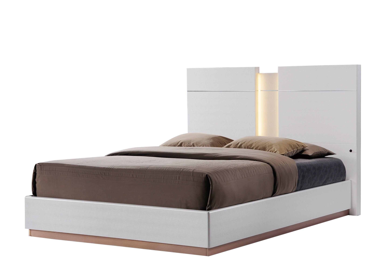 Emma Leather Cream Queen Platform Bed Bed, Queen