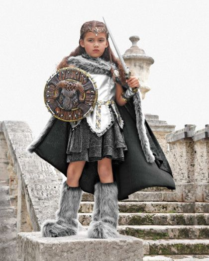 Girls Viking Costume Childrens Historical Norse Warrior Medieval Outfit