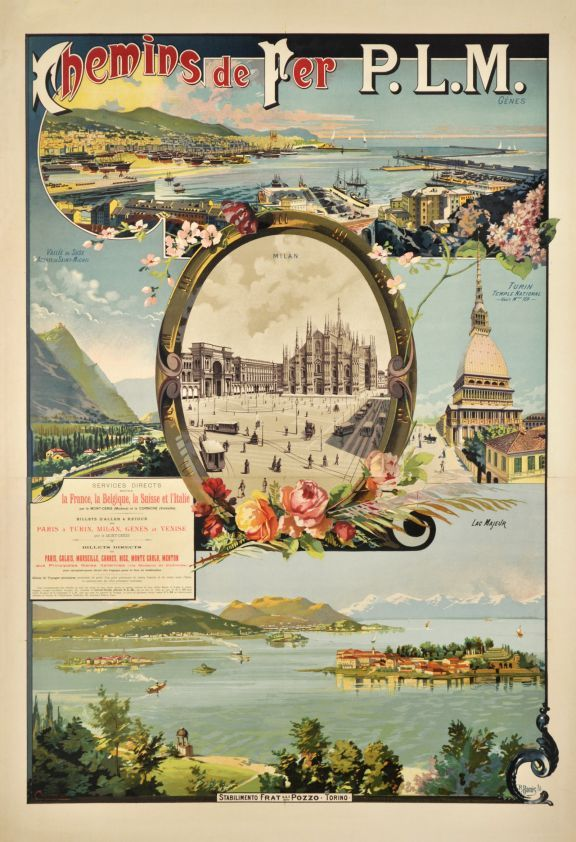 1900 p l m poster for italy showing the cities of genova for Lago store genova