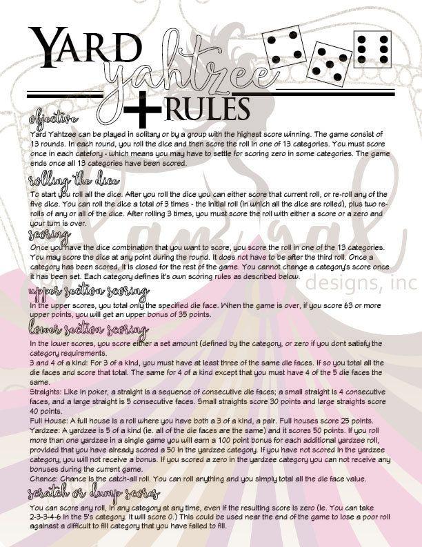 Yard Yahtzee Yardzee Score Card and Rules Set Yard