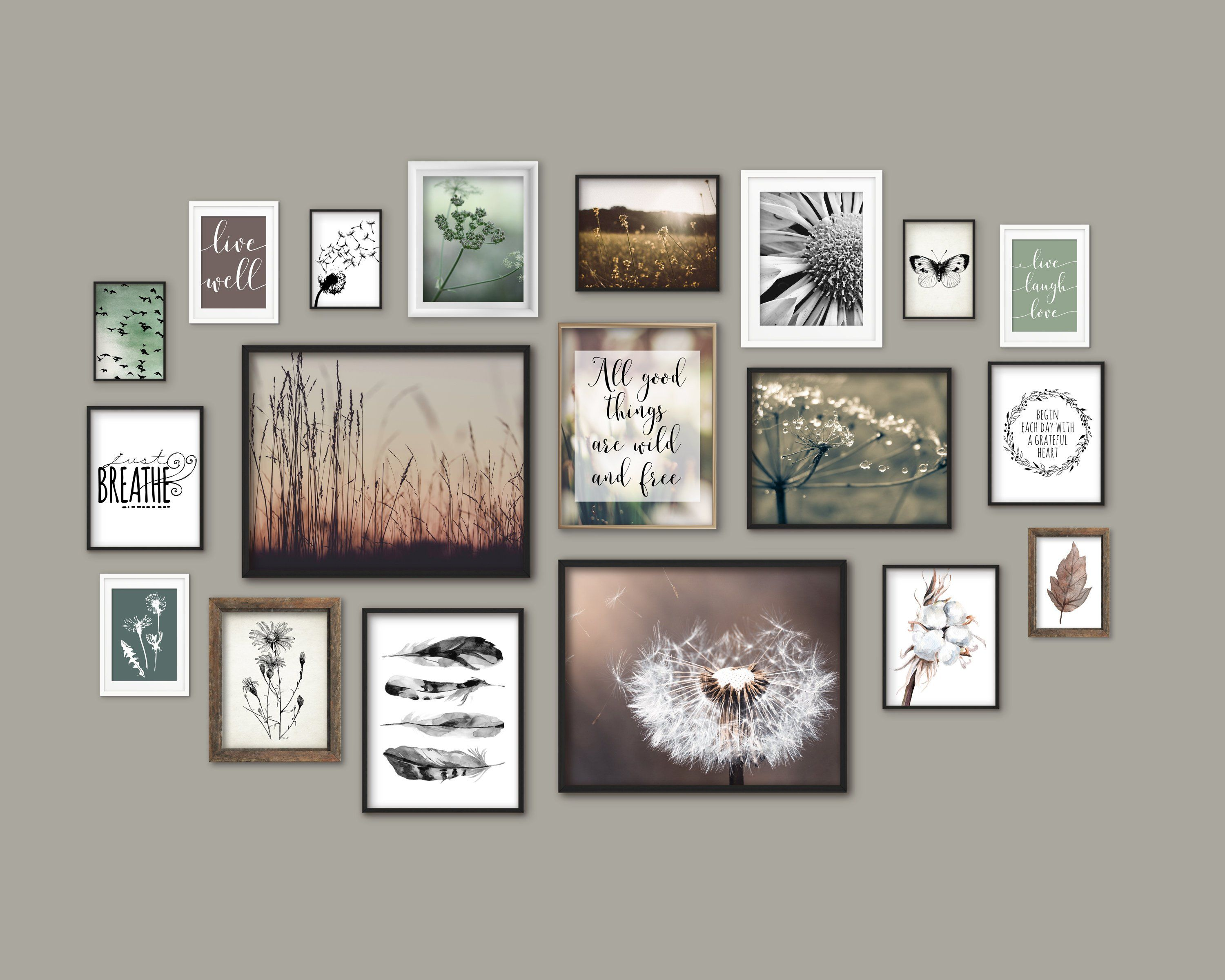 Nature Theme Gallery Wall Art Set Of 19 Prints Botanical Home Etsy Gallery Wall Gallery Wall Art Set Gallery Wall Themes