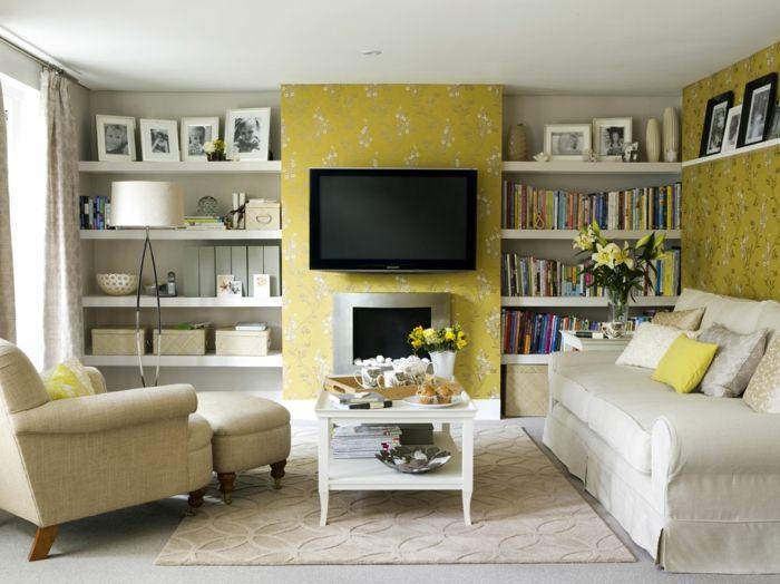 wandgestaltung ideen wohnzimmer florales muster helle möbel offene - wohnzimmer ideen hell