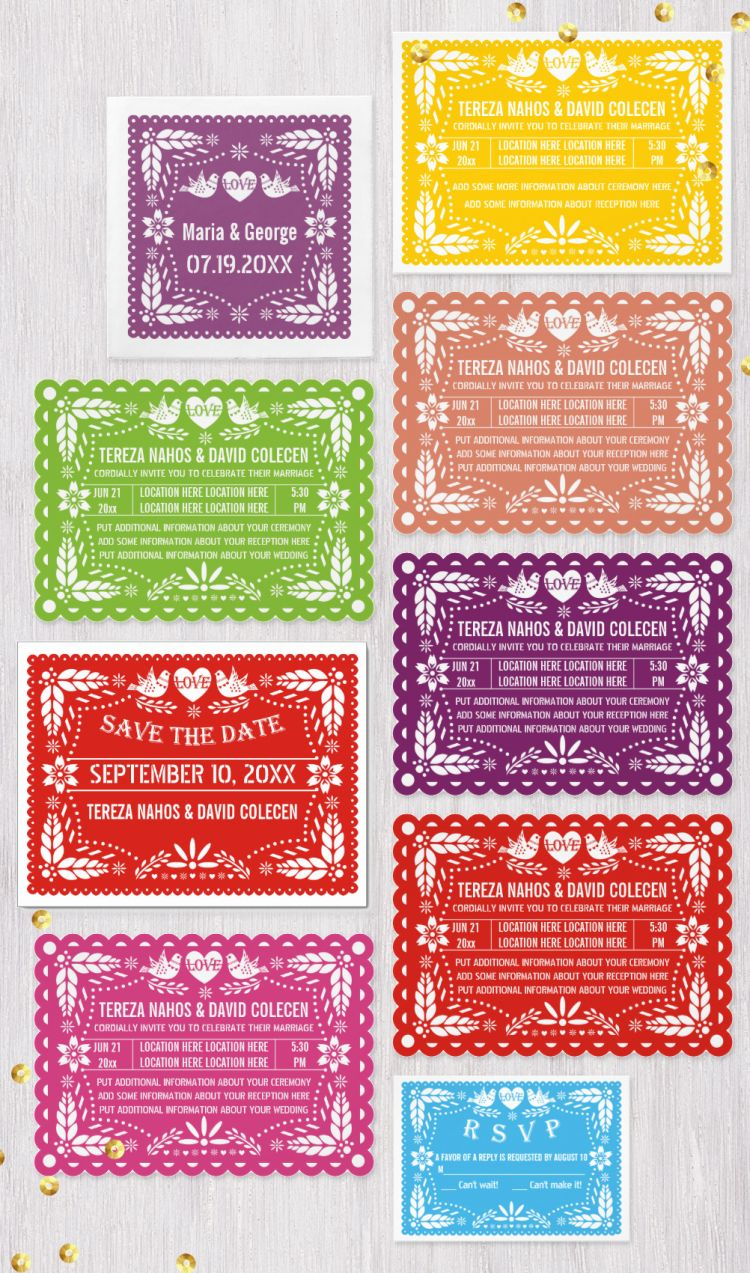 Papel picado love birds wedding invitations and coordinating items ...