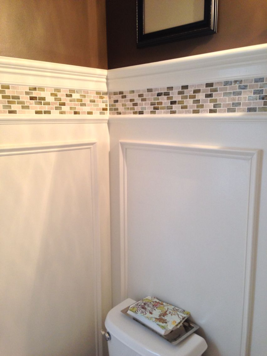 Powder Room Update Shadow Box Wainscoting And Tile Border