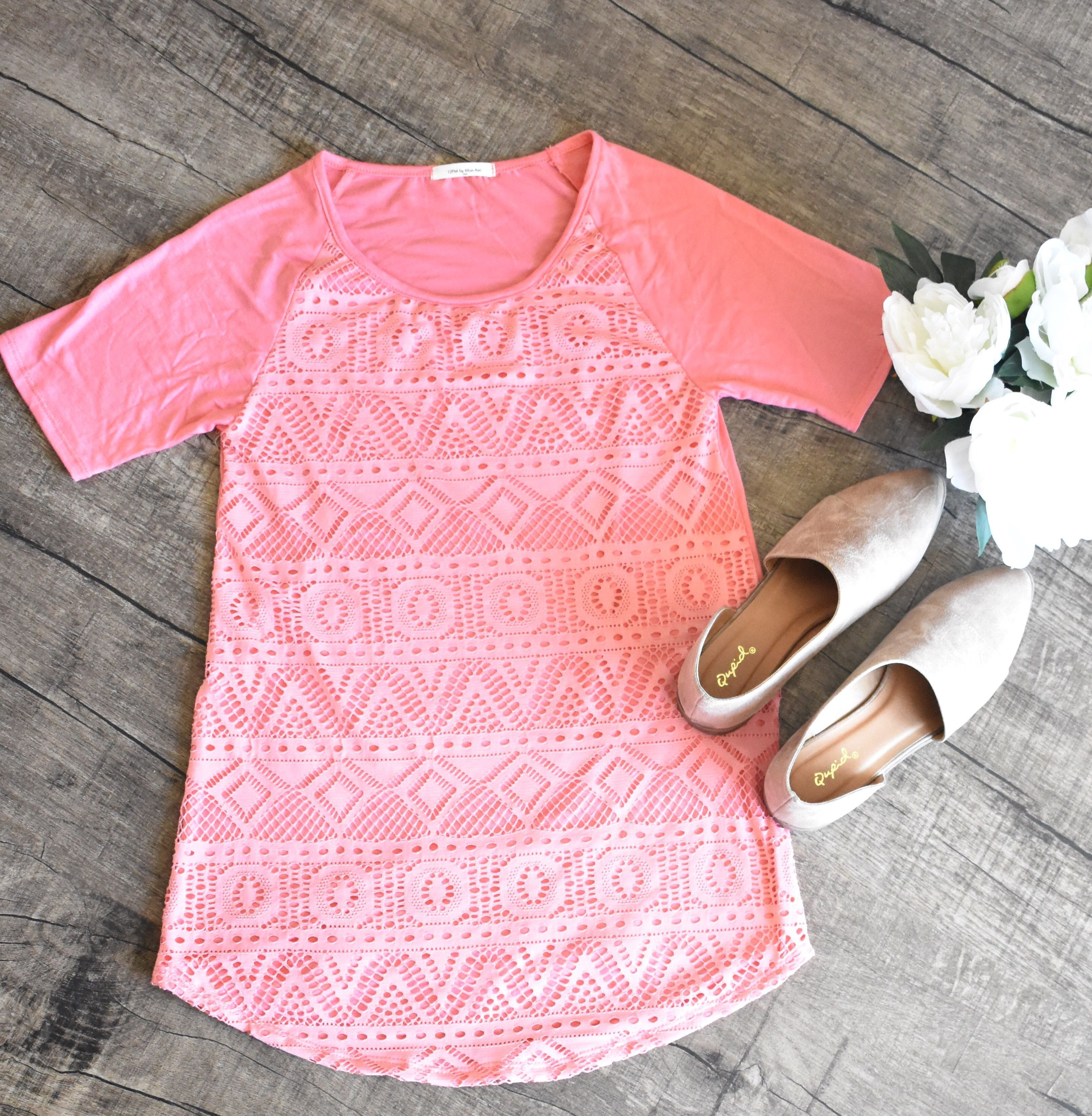 Lace Solid Pattern Top