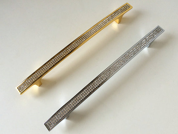 7 56 192 Mm Large Gold Silver Crystal Dresser Drawer Pulls Handles S Cabinet Door Rhinestone Gl Kitchen Furniture Pull Hardware