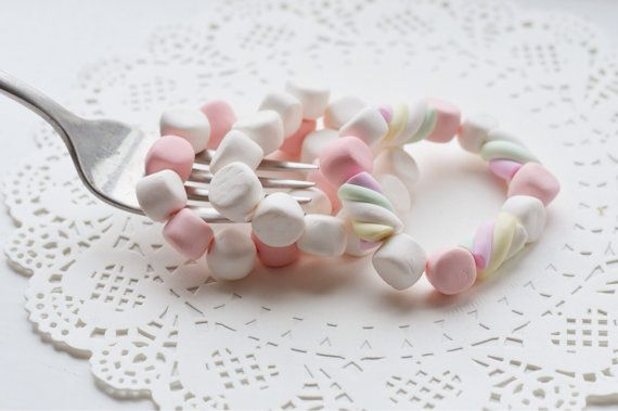 Marshmallow white and pink marshmallow flump twists by Krokkomilk