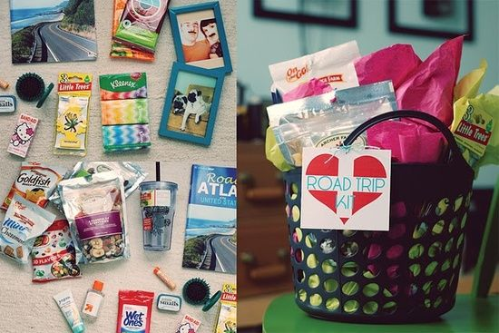 Pin By Amy F On Gift Ideas Road Trip Gifts Road Trip Kit Travel Gift Basket