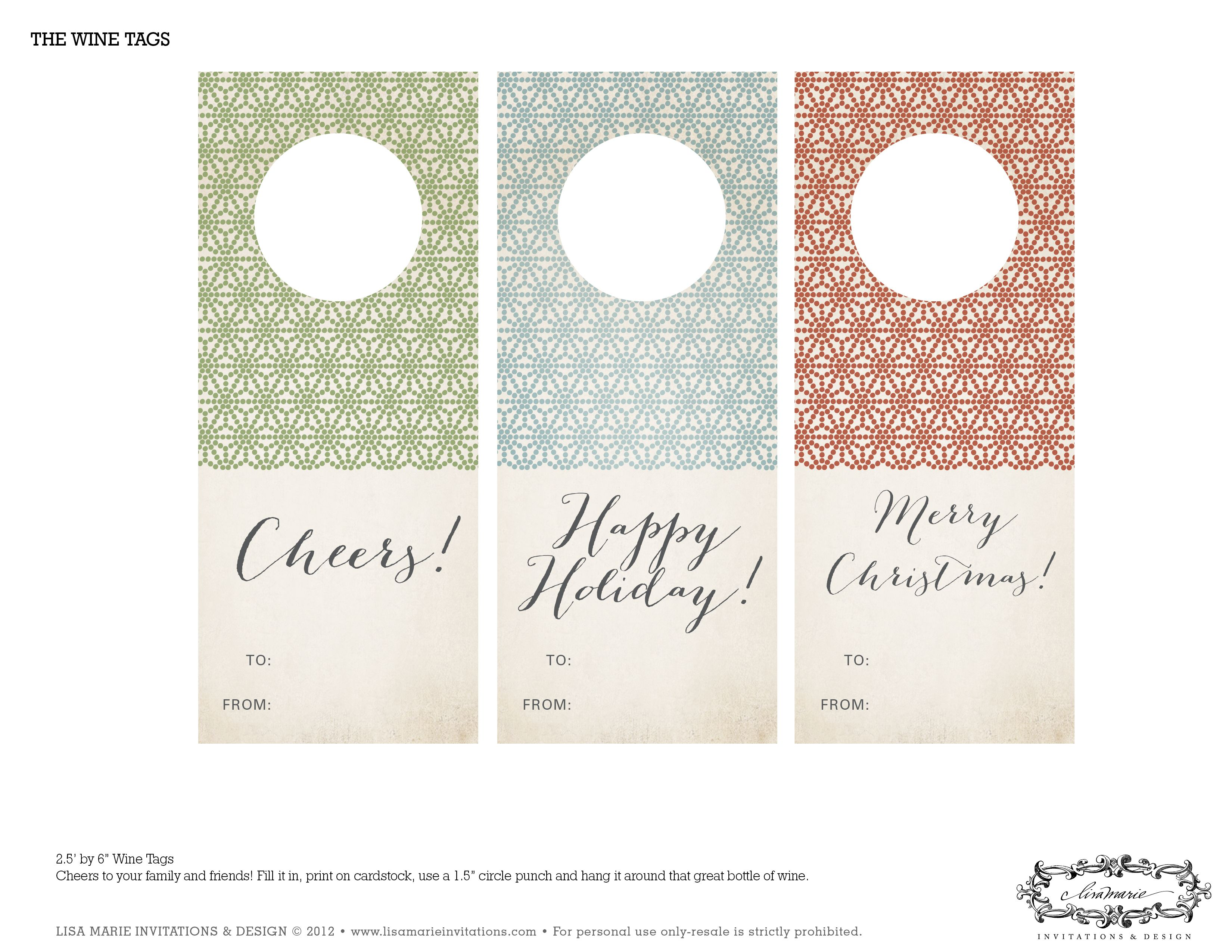 free holiday printables from lisa marie invitations and design etiquette pour bouteille bain. Black Bedroom Furniture Sets. Home Design Ideas