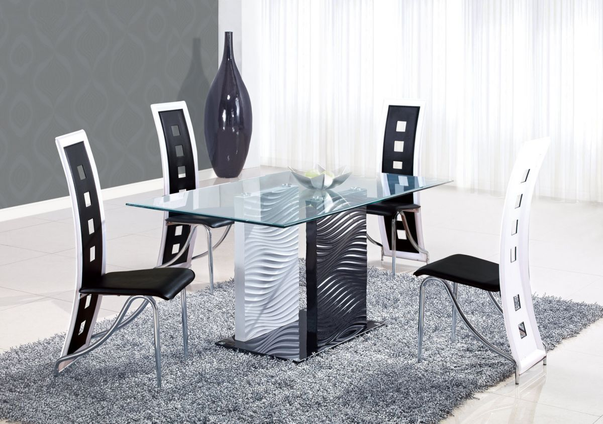 Modern Rectangular Solid Glass Dining Table With Black Chairs And