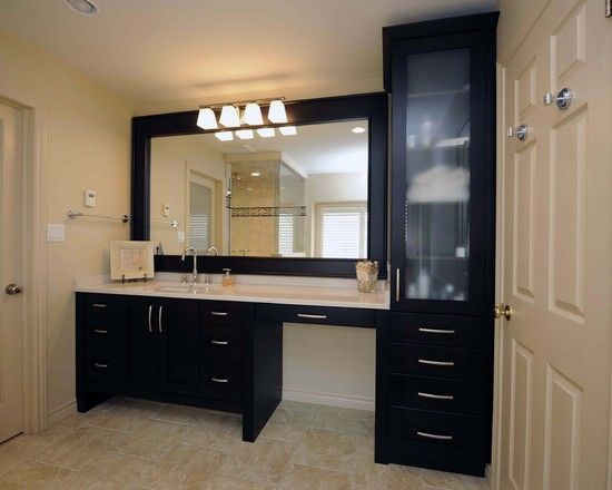 Bathroom Vanity And Linen Cabinet small shower, toilet, linen closet with double vanity sink in