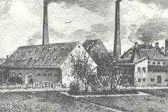 Kastrup Glasværk 1889. Tegning af Frants Sedivy. Her arbejdede min morfar, Gudmand Christoffersen, som stor dreng.