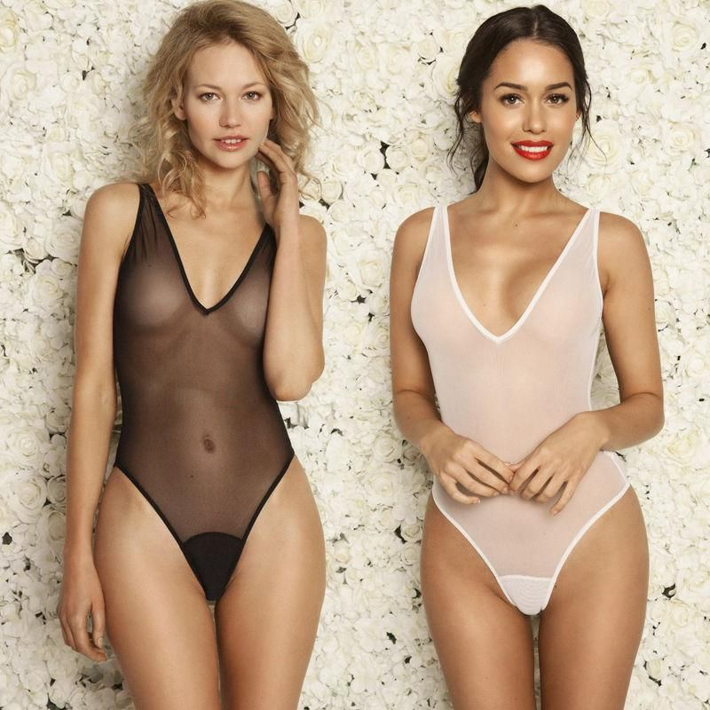 a359e2f02ab90 Sexy High Cut Bodysuit Thong Swimsuit Transparent Underwear Body Suits.