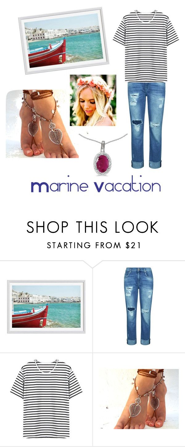 """""""Marine Vacation"""" by officaljjcake ❤ liked on Polyvore featuring Pottery Barn, 7 For All Mankind, BillyTheTree and stripedshirt"""