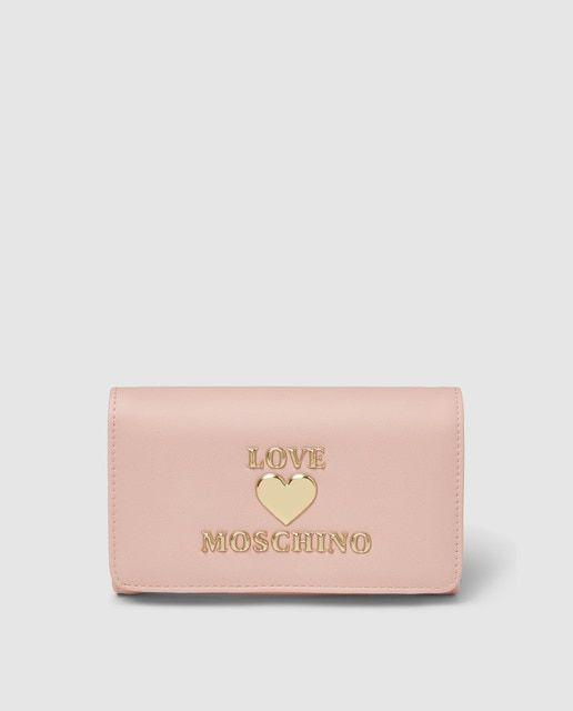 Porta-moedas grande rosa com aba