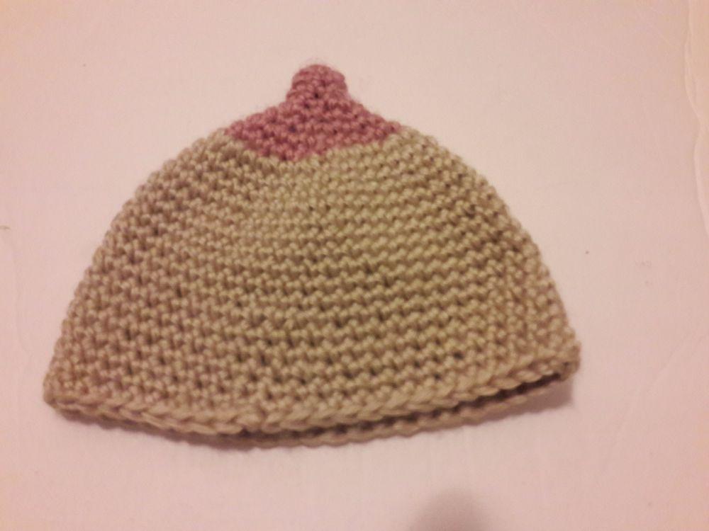 fcf5284762a Baby Boobie Hat Pro-Breastfeeding newborn beanie HANDMADE  Handmade   Crocheted