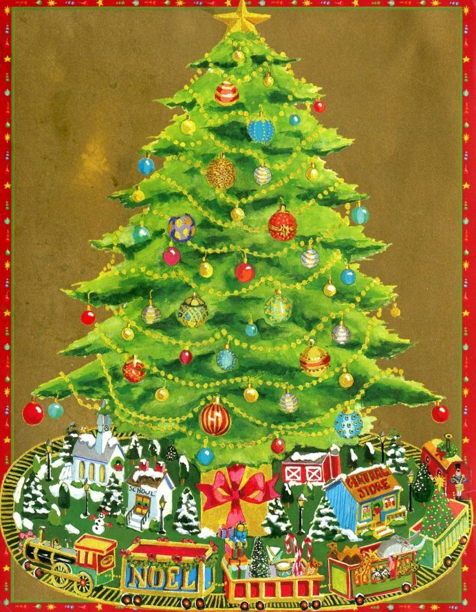 Clash Of Clans Christmas Trees In Order.Christmas Card Train Village Under Tree No Doll