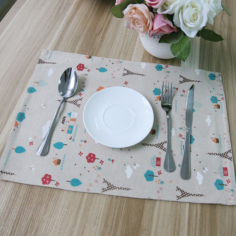 Flower Printed Cotton Linen Placemat Dining Table Mat Dish Coffee Cup Pads Napkin Photography Kitchen Supply Placemats Linen Tablecloth Table Mats