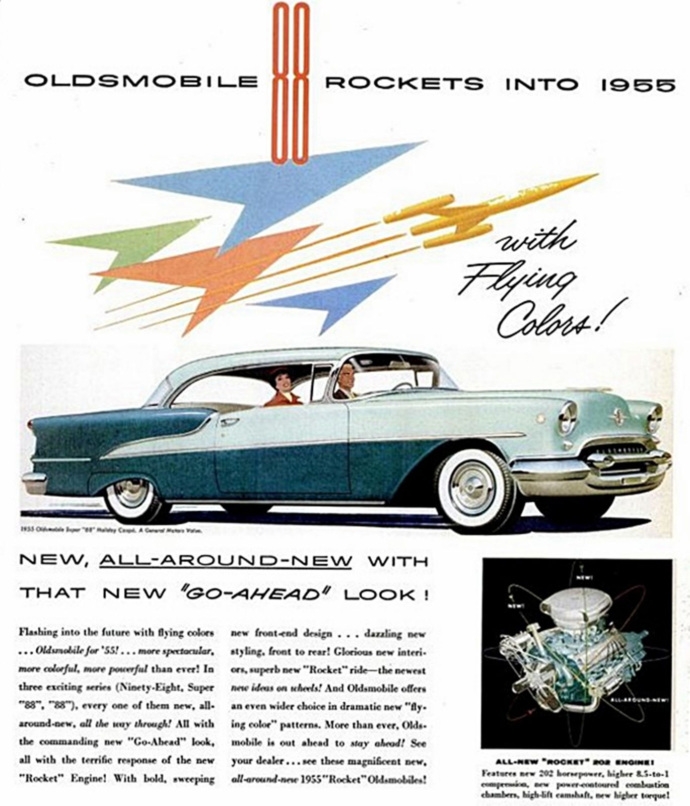 1955 Oldsmobile Rocket 88 Colors as shown Also had a 55 4 door