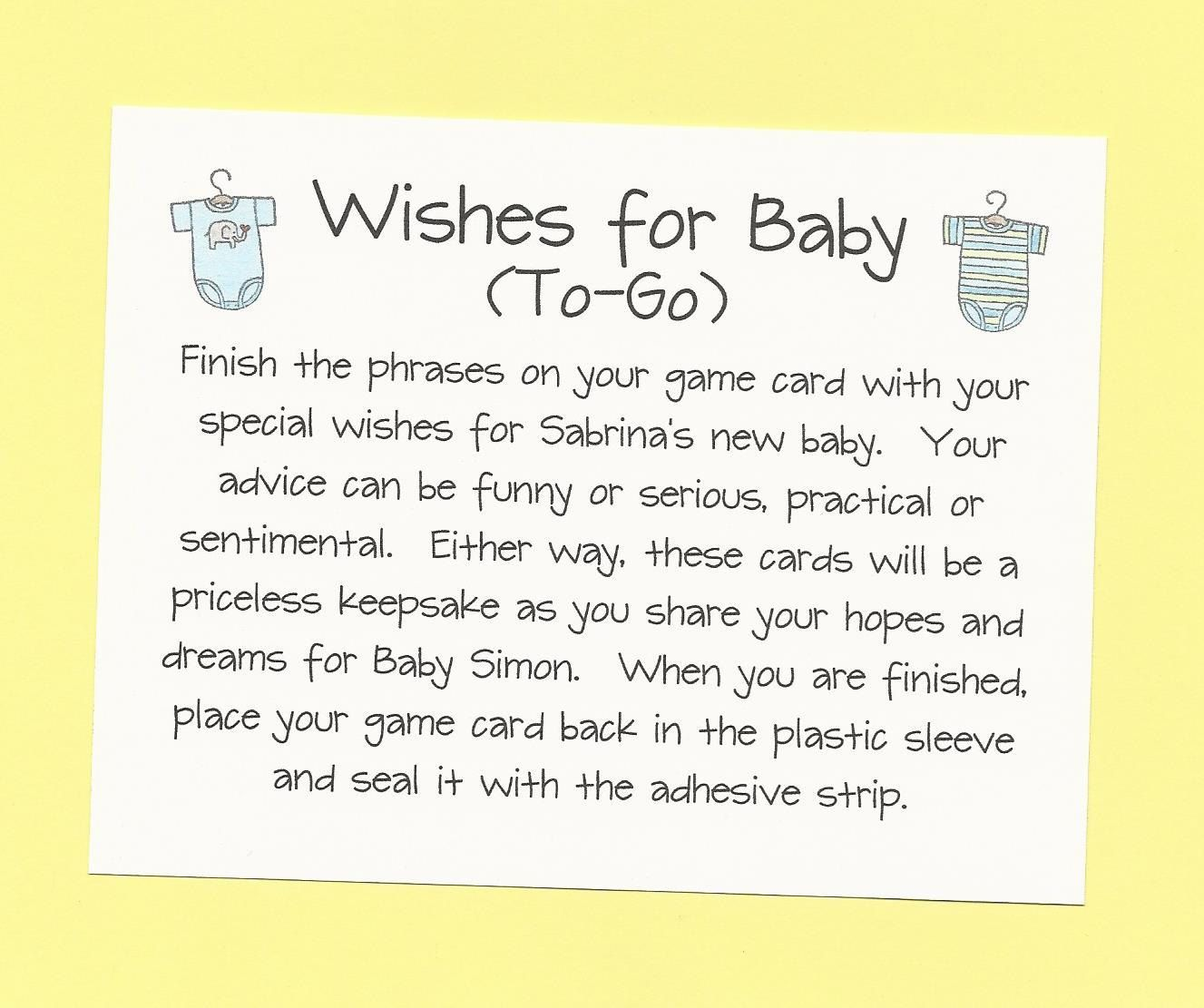 Wishes For Baby To Go   Long Distance Baby Shower Game   Hopes And Dreams