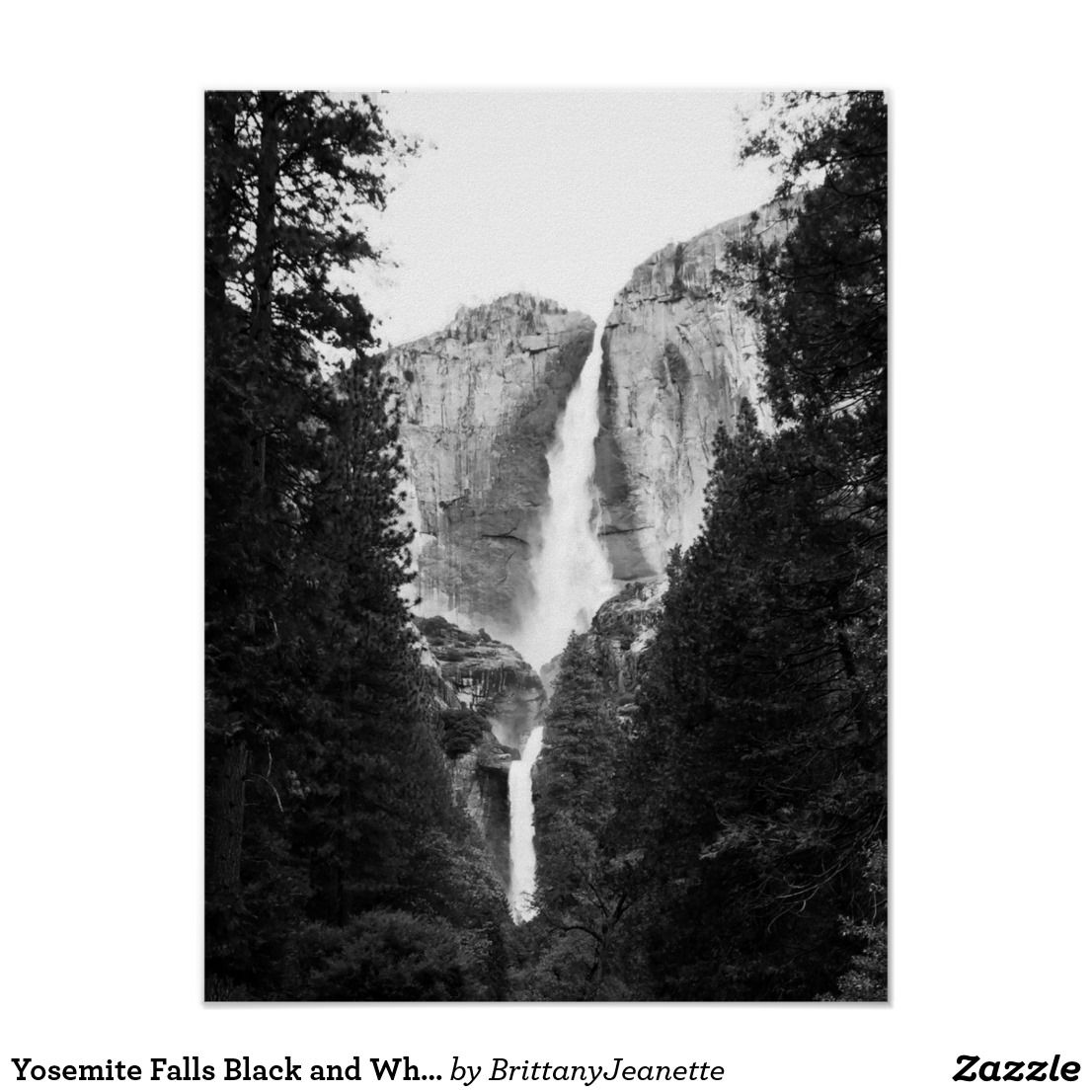 Yosemite Fall Poster: Yosemite Falls Black And White Poster
