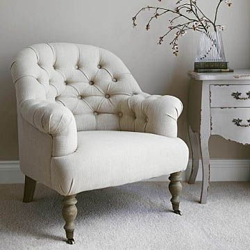 Linen Button Back Armchair - Natural: comfortable, non-matching chairs are a must for this style.