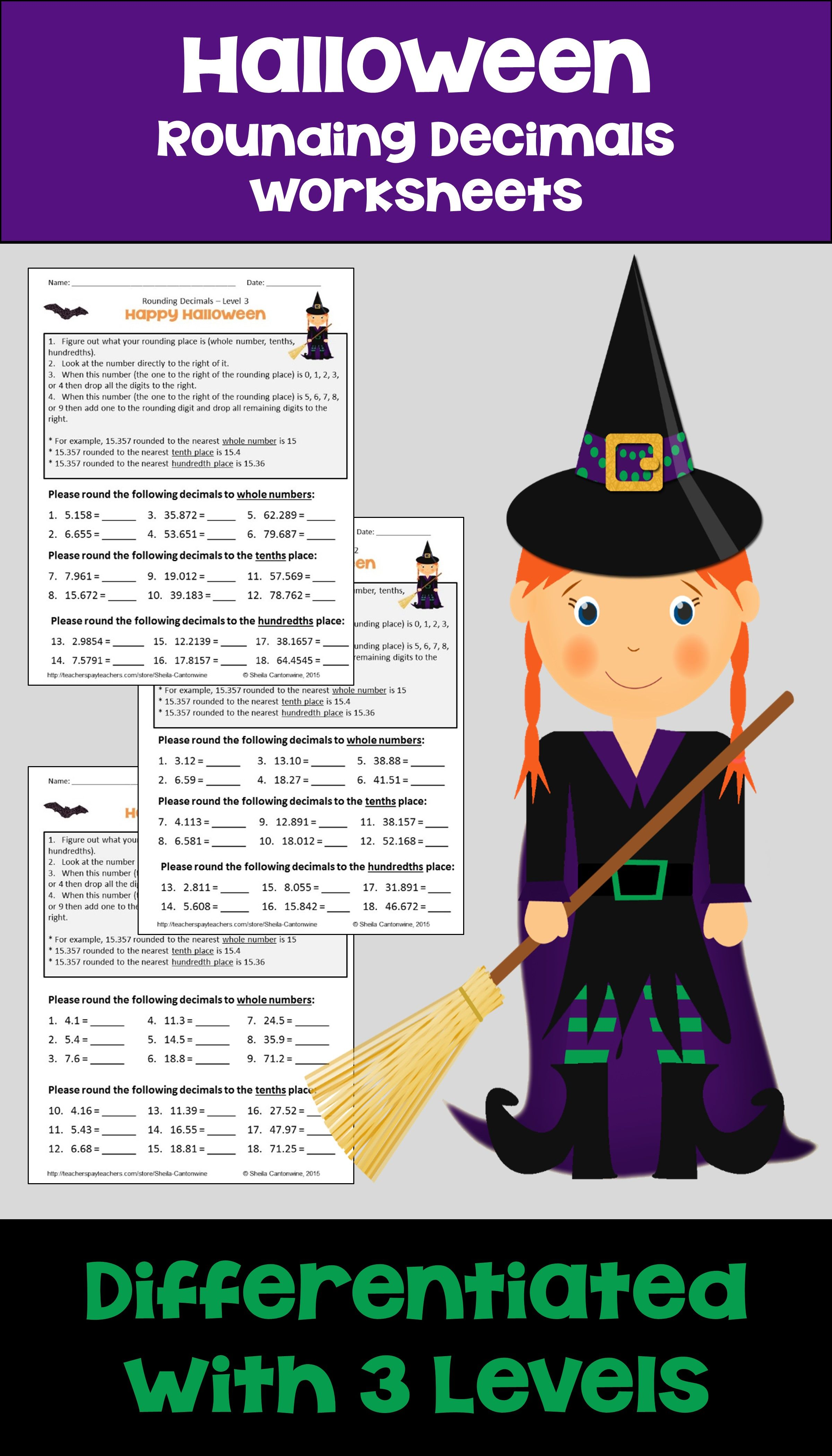 Halloween Math Rounding Decimals Worksheets Differentiated