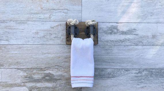 Photo of DARK WALNUT Rope Towel Ring, Nautical Design, Towel Bar, Towel Rack, Black Rope, Bathroom Fix…