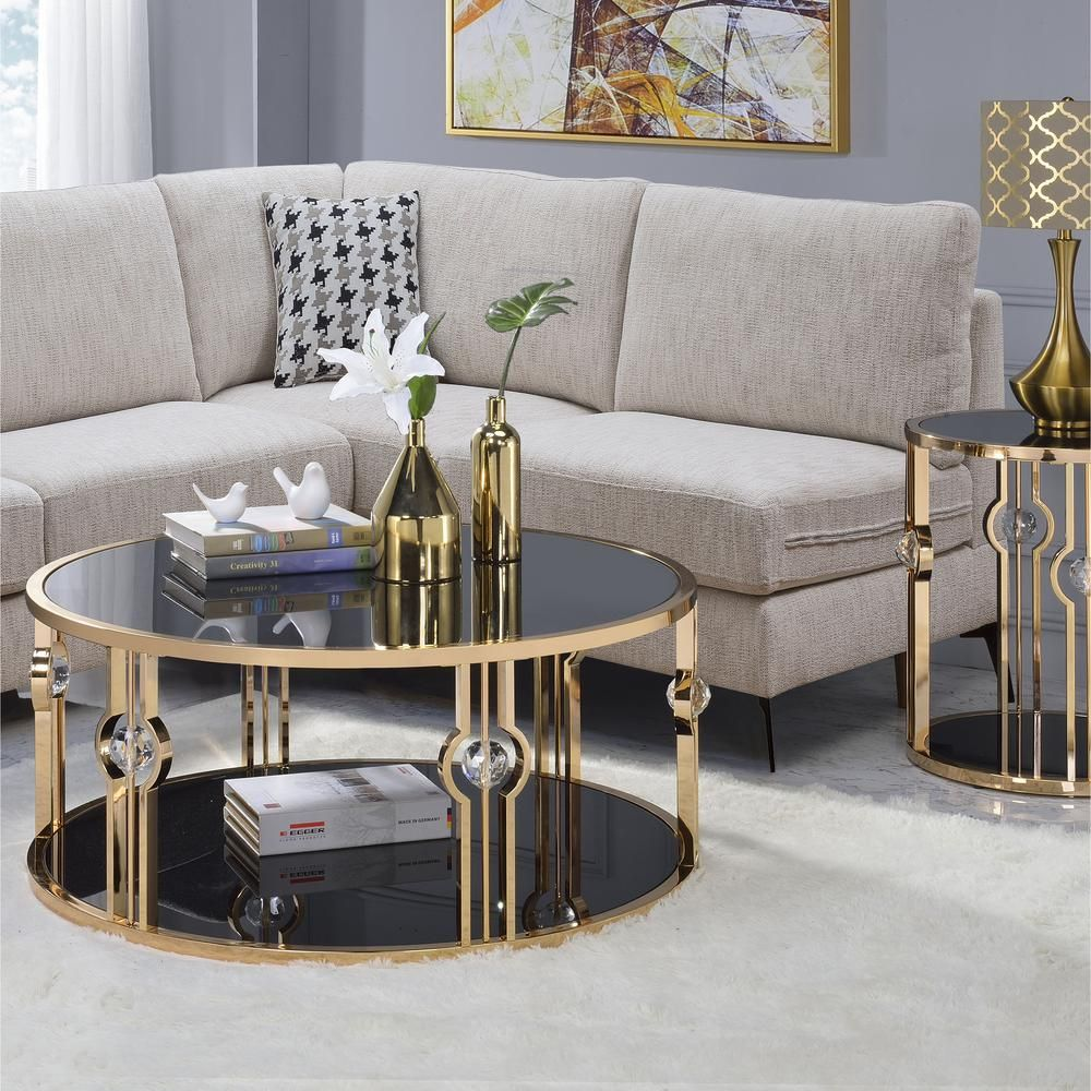 Venetian Worldwide Daloris Gold And Glass Coffee Table Coffee Table Living Room Coffee Table Velvet Sofa Living Room [ 1000 x 1000 Pixel ]