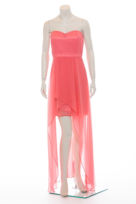Kleid - Vorne kurz, hinten lang - Chiffon - rosa  Kleider