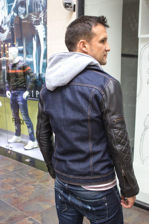 Brooklyn W Jean Leather Jacket Dark Blue Denim Black Leather Sleeves Leather Jacket Leather Jacket Men Men S Denim Style [ 1500 x 1000 Pixel ]