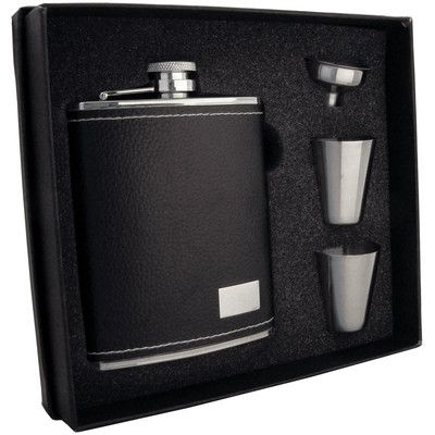 Visol Products Leather Stainless Steel Hip Flask Gift Set Finish: Eclipse S Black