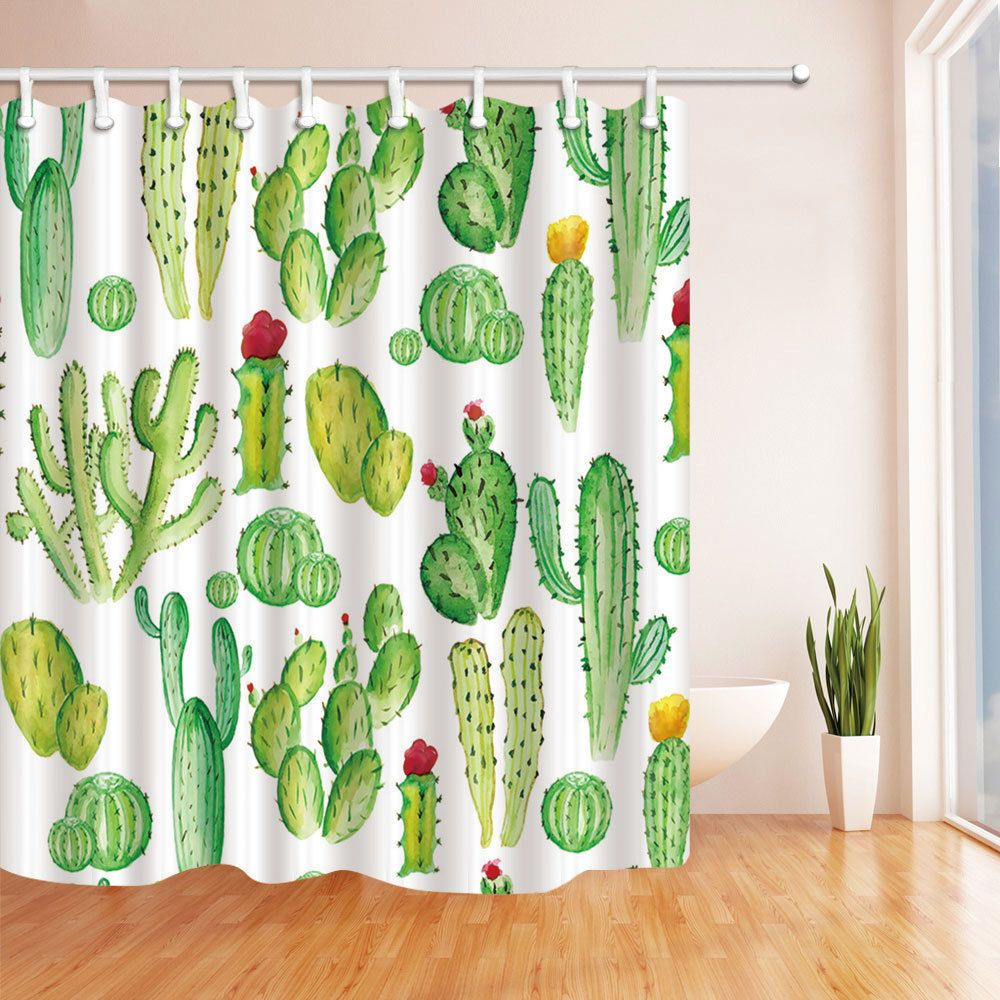 The Cactus Theme Waterproof Fabric Home Decor Shower Curtain