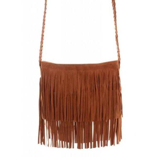 Camel Fringe Knit Strap Shoulder Bag$42.00 ($42) ❤ liked on Polyvore