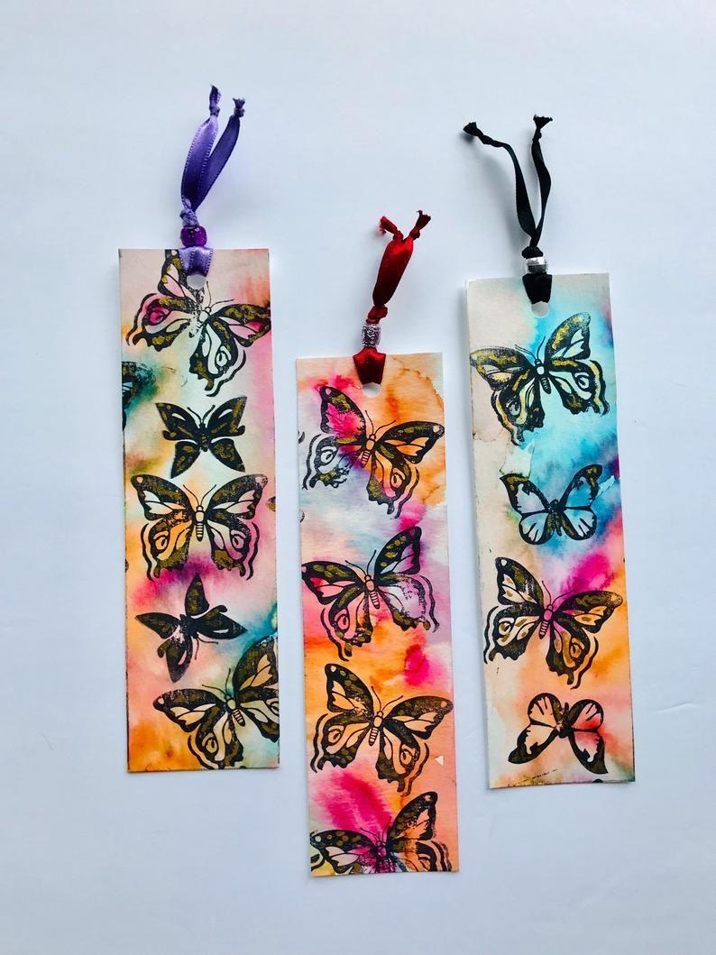Butterflies bookmarks handmade book lover gift set of 3