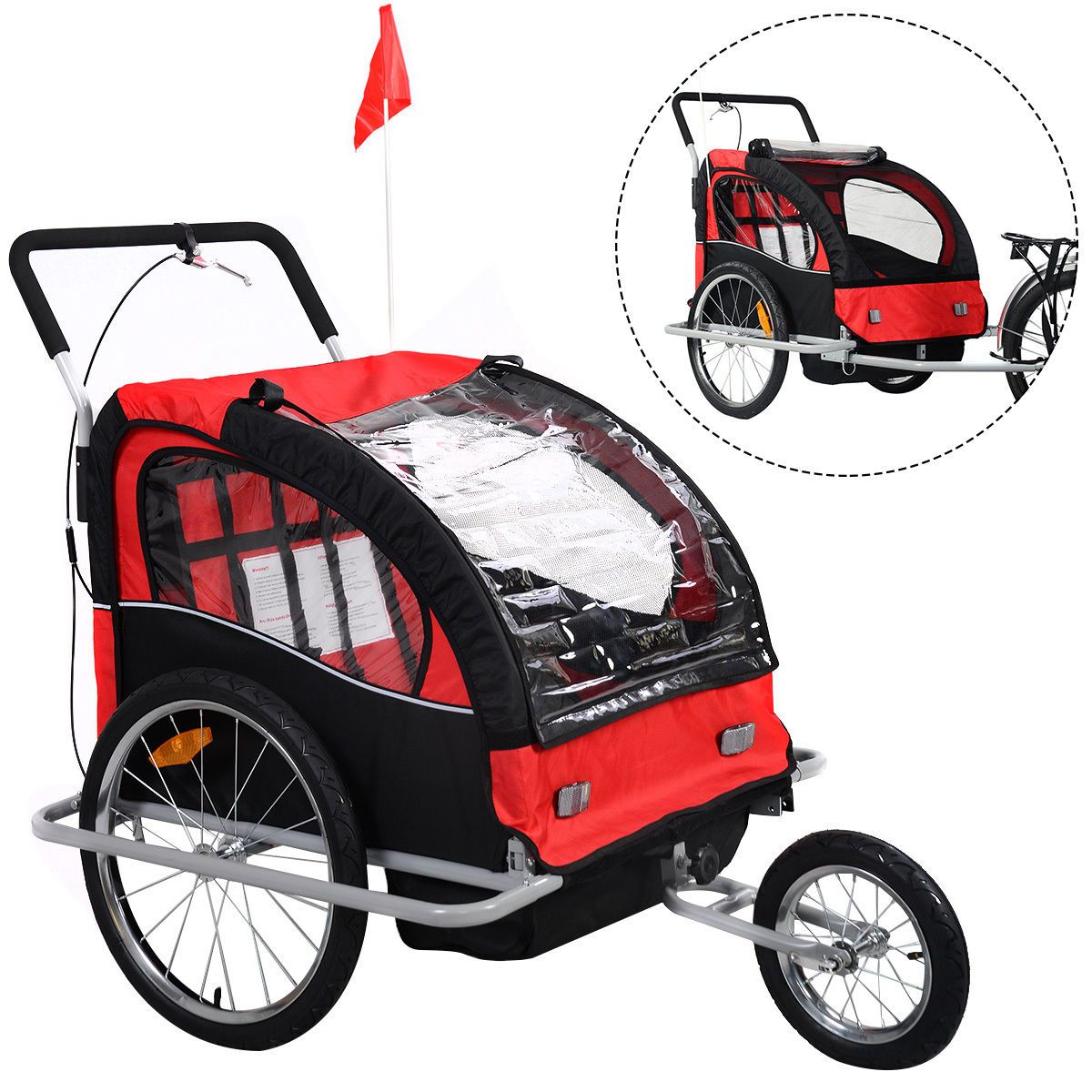 2 in 1 Double Child Baby Bike Trailer Bicycle Carrier