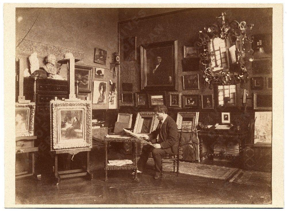 T.R. Fleury in his studio sketching., ca. 1885