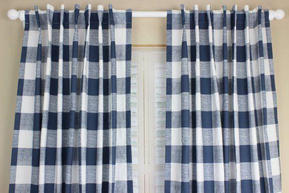 Buffalo Plaid Curtain Panel Set Plaid Curtains Navy Blue Nursery Curtains  Boy Nursery Gray Red Buffa