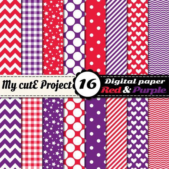 Papier Digital Rouge Et Violet Scrapbooking Graphisme 12x12