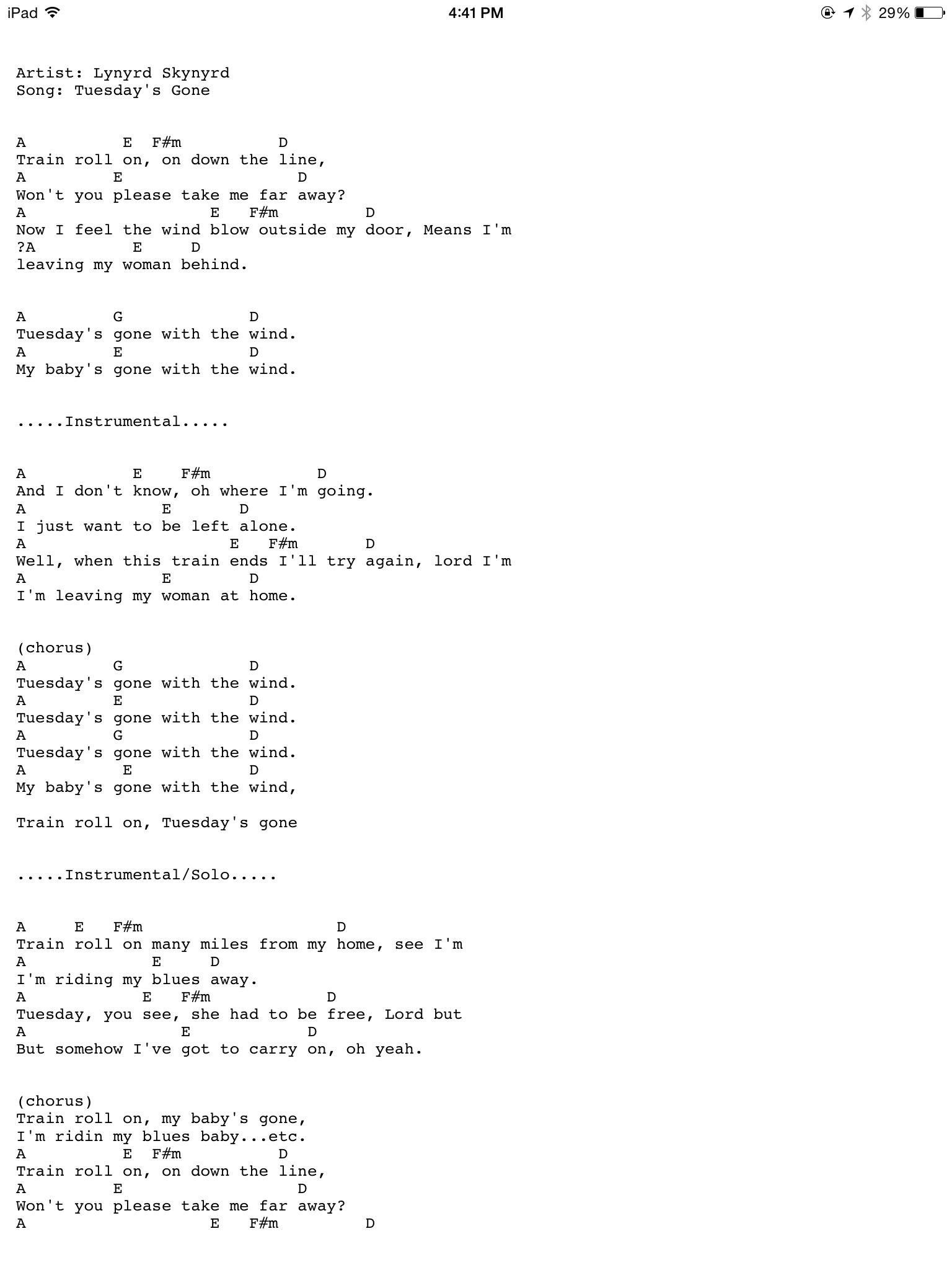 Tuesday's gone Guitar chords and lyrics, Jazz guitar