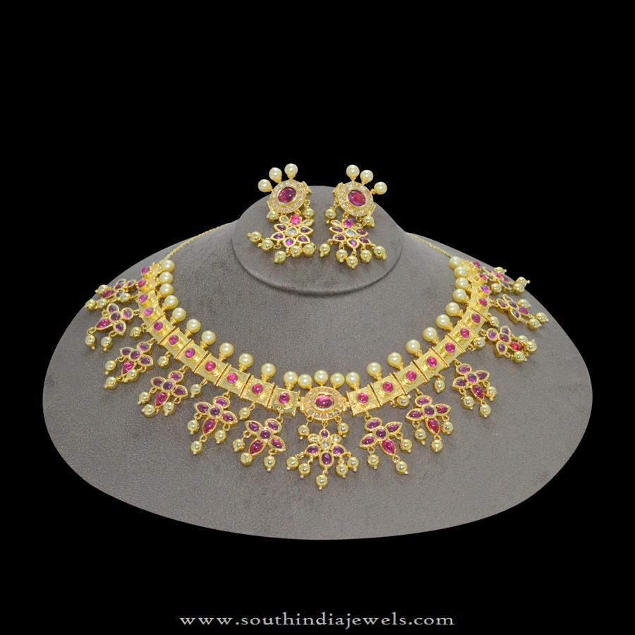 1gm gold plated Guttapusalu Necklace with Price Gold jewellery