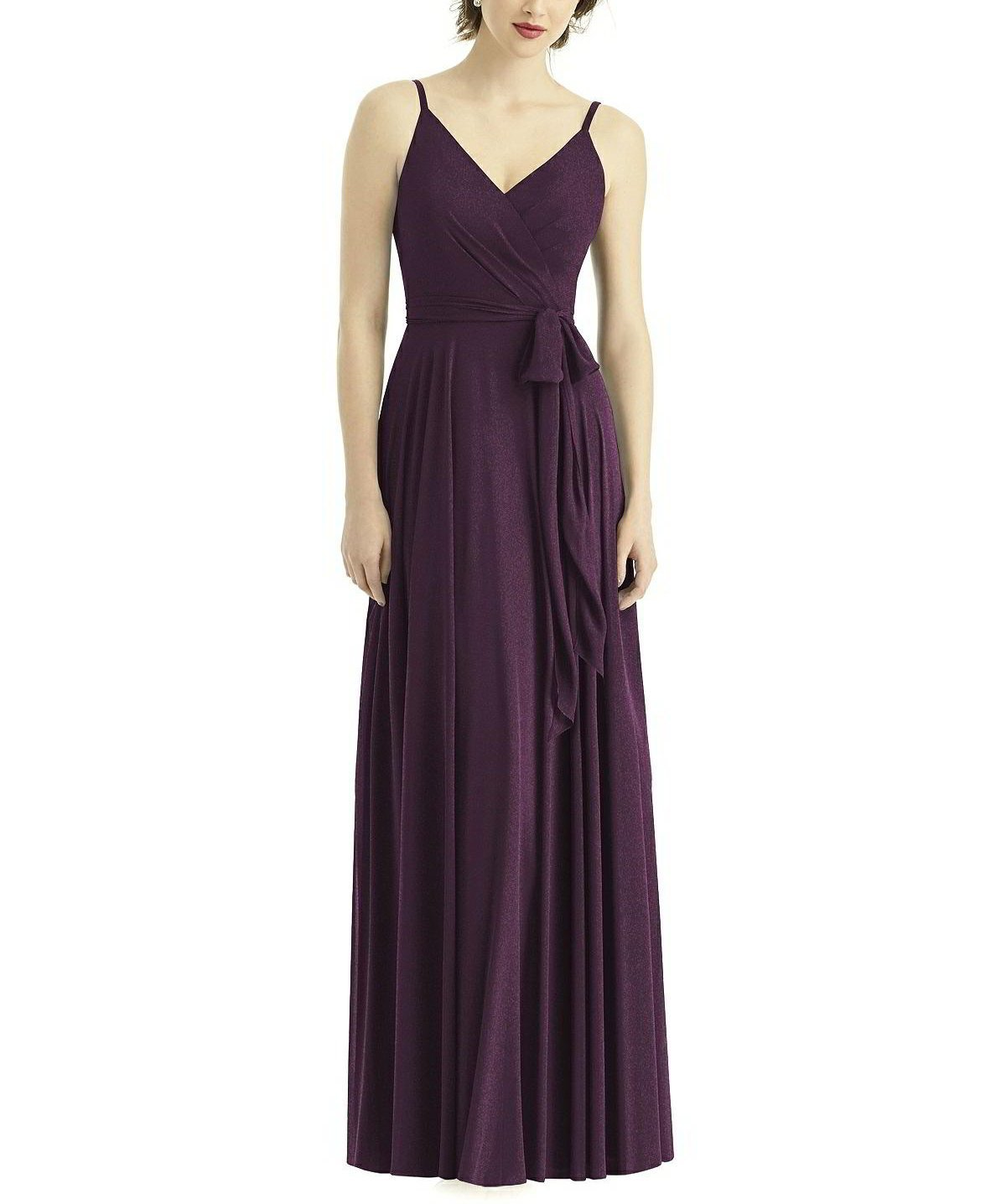 84e2fe0430b Description - After Six Style 1511 - Full length bridesmaid dress -  V-neckline with spaghetti straps - Deep v back and matching sash - A-line  silhouette ...