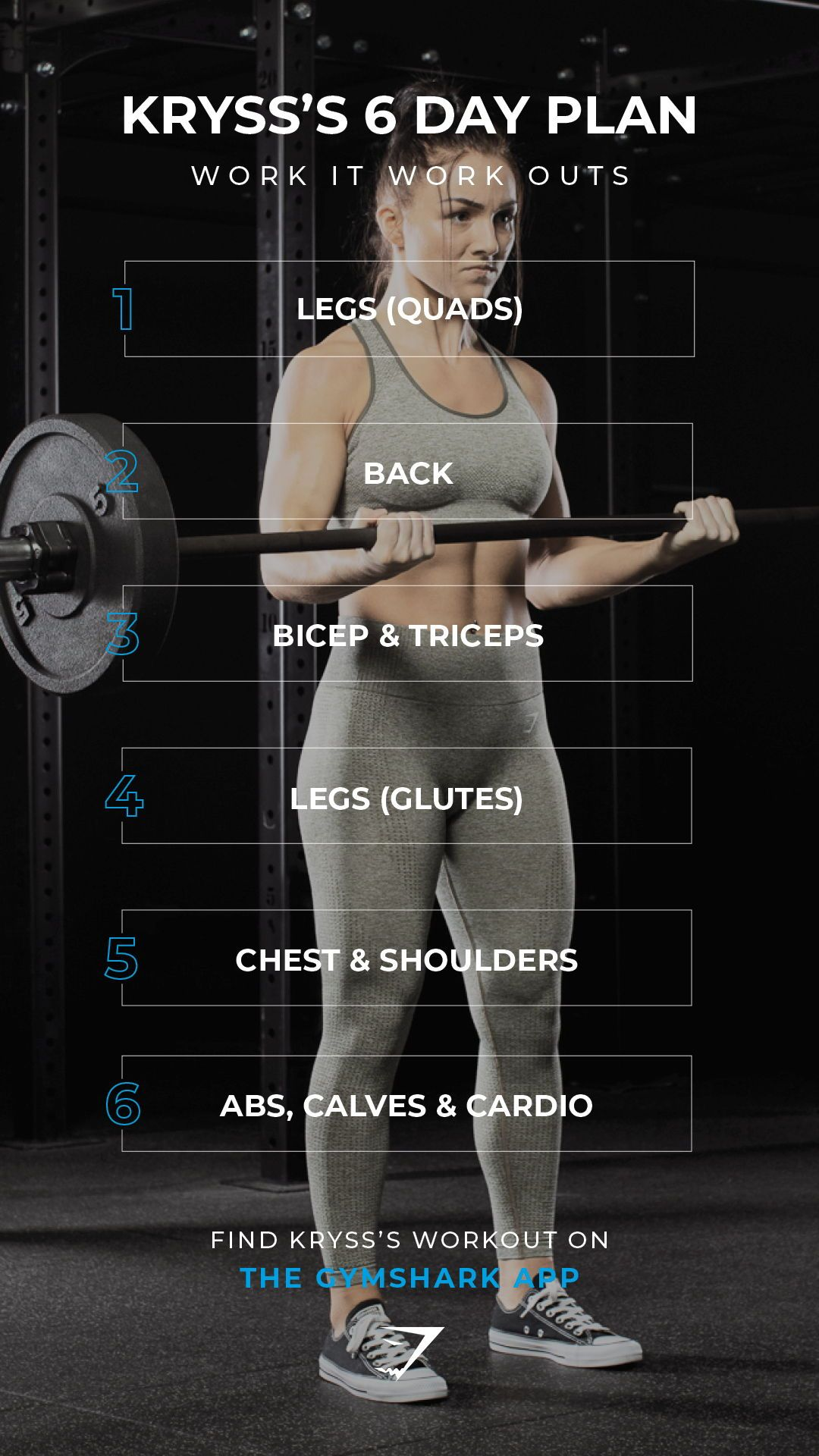 Kryss's 6 Day Plan, work it work outs. Train with Kryss on the Gymshark Conditioning App. Search 'Gy...