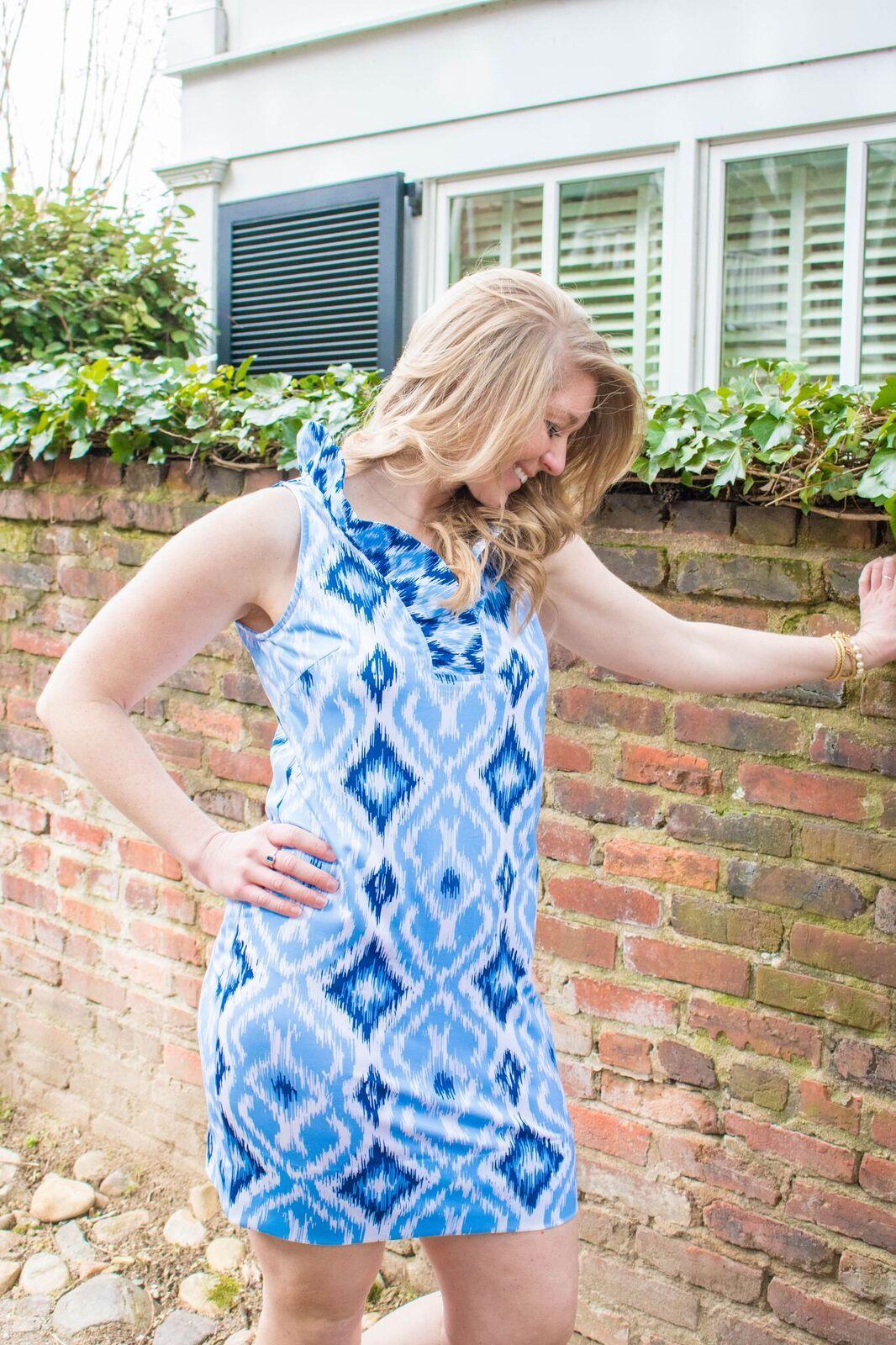 19f16bb5183 We are loving this new Gretchen Scott Blues print on the classic ruff neck sleeveless  dress